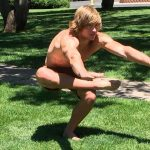 GymnasticBodies athlete demonstrates hip and knee mobility with a Hawaiian squat.