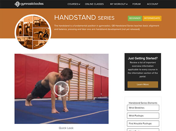 Handstand series video page
