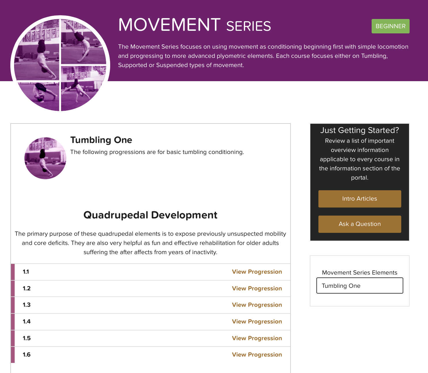 A breakdown of our GB Movement Series webpage