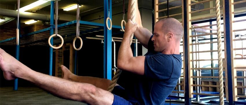 Tim Ferriss shows off his rope climbing skills while training with Coach Christopher Sommer.