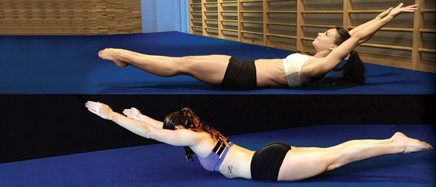 Christopher Sommer's female athletes demonstrate dual core exercises, arch holds and hollow body holds.