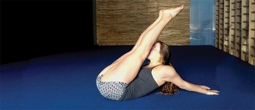 Christopher Sommer's female athlete demonstrates a shoulder extension with added stomach compression.
