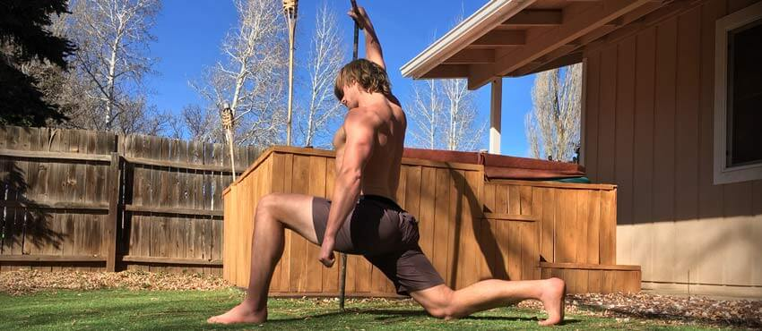 Christopher Sommer's bodyweight athlete demonstrates lateral line mobility exercises.